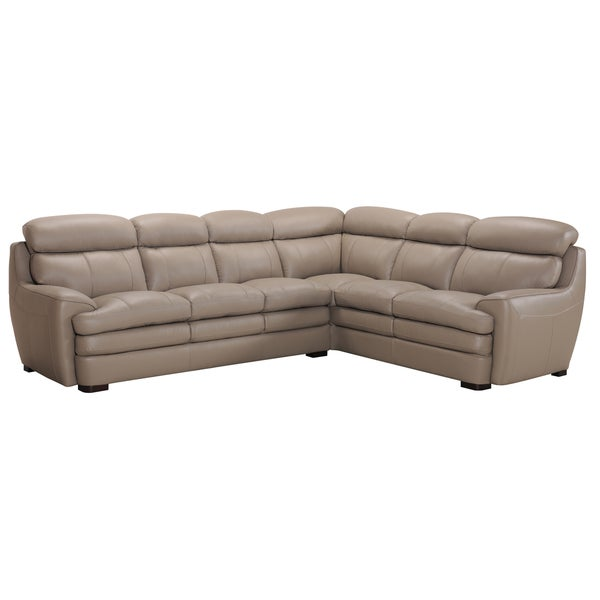 Newport premium top grain sand leather sectional sofa for Sand leather sofa