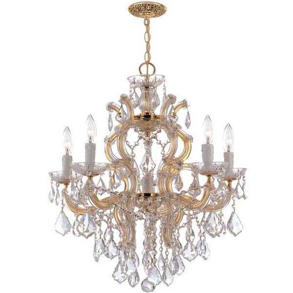 Crystorama Maria Theresa Collection 6-light Gold/Swarovski Strass Crystal Chandelier - Gold
