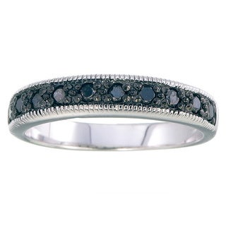 Sterling Silver 1/4ct TDW Black Diamond Milgrain Wedding Band