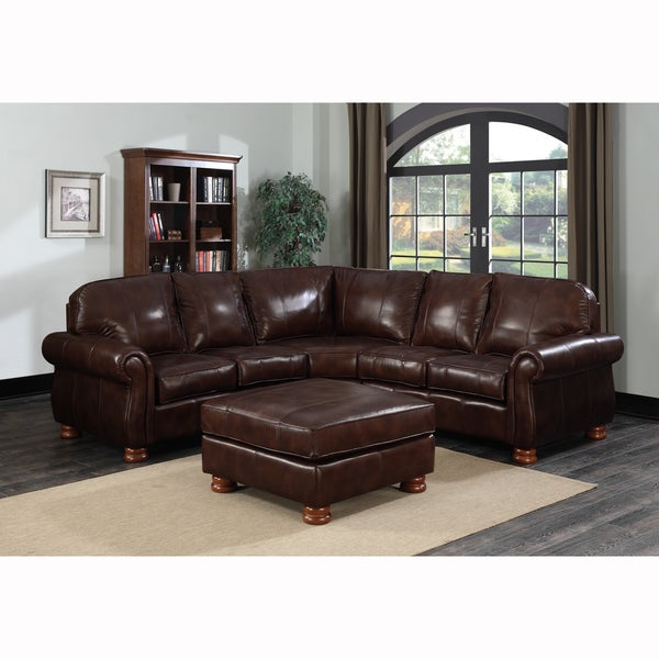 Shop Melrose Dark Brown Italian Leather 4-piece Sectional