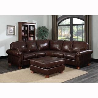 Melrose Dark Brown Italian Leather 3 Piece Sectional Sofa Set