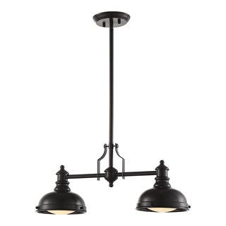 OVE Decors Bergin ii Oil-rubbed Bronze-finish Steel LED integrated Pendant Double Light Fixture