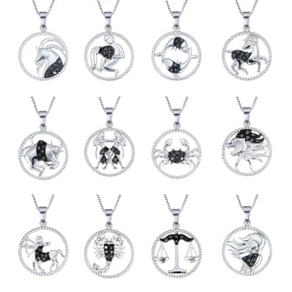 Sterling Silver 1/8ct TDW Black Diamond Zodiac Pendant