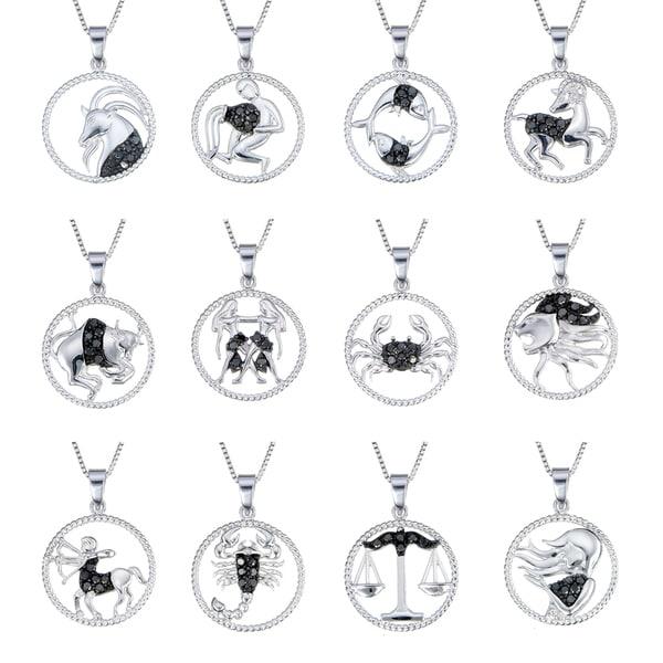 Sterling Silver 1/8ct TDW Black Diamond Zodiac Pendant