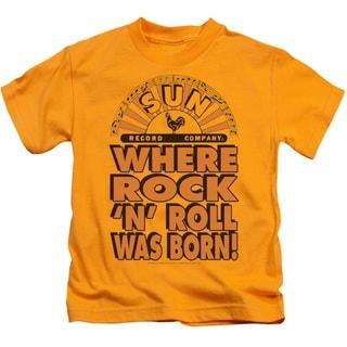 Sun/Where Rock Was Born Short Sleeve Juvenile Graphic T-Shirt in Gold