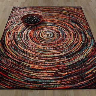 Ottomanson Rainbow Collection Nonslip Modern Multicolor Abstract Spiral Design Area Rug