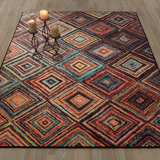 Ottomanson Authentic Collection Multicolor Abstract Diamonds Design Non-Slip Contemporary 5'0 X 6'6 Area Rug
