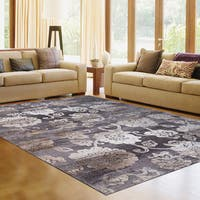 Avenue 33 Light Grey Floral Poly-blend Area Rug (7'10 x 10')