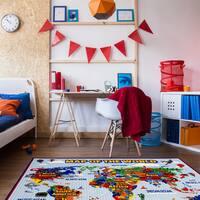 Map of the World Multicolor Nylon Machine-woven Area Rug (5'3 x 7')