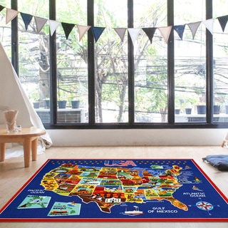 Ultimate USA Multicolored Nylon Machine-woven Rug