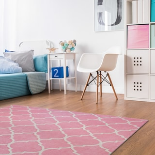 Penelope Pink Polyester Hand-tufted Rug (7'10 x 10')