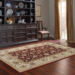 Machine Woven Cambridge Burgundy/ivory Polypropylene Rug (7'10 x 10')