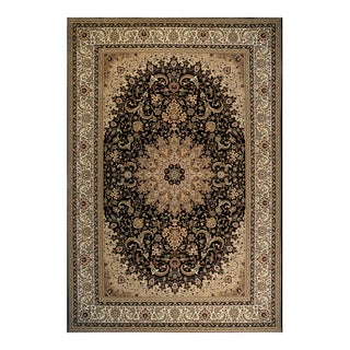 Sheffield Black/Gold Polypropylene Machine Woven Rug (7'10 x 10')