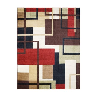 Broyhill Dolton Geo Red Polypropylene Machine-woven Area Rug (7'5 x 10')