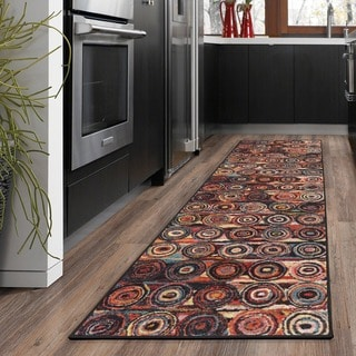 Ottomanson Rainbow Collection Modern Multicolor Abstract Circles Design Non-slip Area Rug ( 2'3 X 6'0)