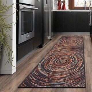 Ottomanson Rainbow Collection Modern Abstract Spiral-design Multicolor Nonslip Area Rug (2'3 x 6'0)