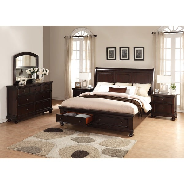 Brishland Rustic Cherry King Size Storage Bedroom Set Free Shipping Today