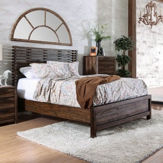 Furniture of America Amber Contemporary Rustic Slatted Wingback Bed