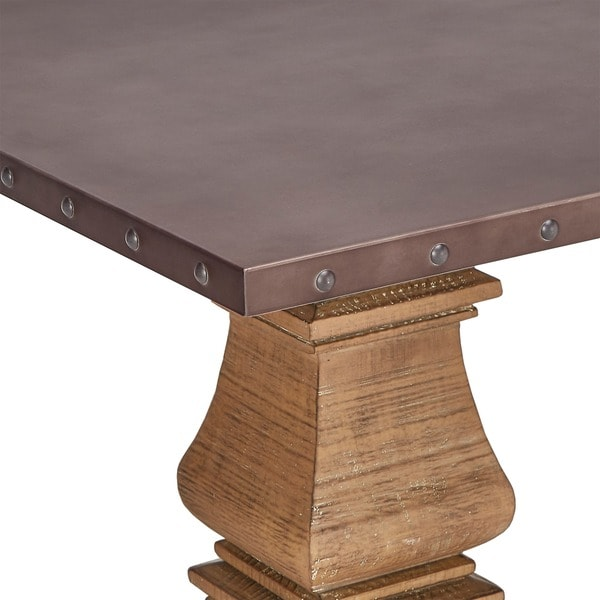 Voyager Wood And Zinc Balustrade 84 Inch Rectangle Dining Table By INSPIRE  Q Artisan   Free Shipping Today   Overstock.com   19398719