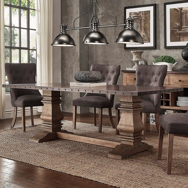 Janelle Wood And Zinc Balustrade 84 Inch Rectangle Dining Table By INSPIRE Q Artisan