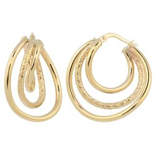 Fremada Italian 14k Yellow Gold High Polish and Diamond-cut Graduated Hoop Earrings