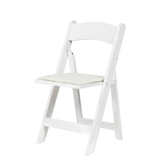 Bon American Classic White/Red Mahogany/Natural Wood Folding Chair