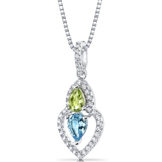 Oravo Sterling Silver 1 1/4ct TGW Swiss Blue Topaz and Peridot Pear-shape Pendant