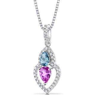 Oravo Sterling Silver 1 1/2ct TGW Created Pink Sapphire and Swiss Blue Topaz Pendant