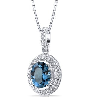 Oravo Sterling Silver 3ct TGW London Blue Topaz Halo Pendant