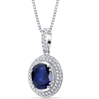 Oravo Sterling-silver 3.50-carat Created Sapphire Halo Pendant on 18-inch Chain