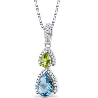 Oravo Sterling Silver 1 3/4ct TGW Swiss Blue Topaz and Peridot Open Halo Pendant