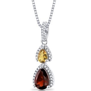 Oravo Sterling Silver 1 3/4ct TGW Garnet and Citrine Open Halo Pendant