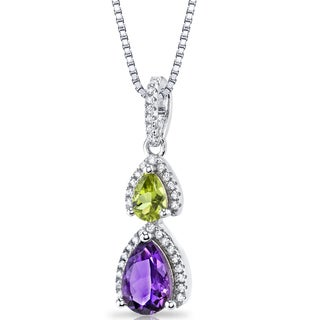 Oravo 1.5-carat Amethyst and Peridot Sterling Silver Open Halo Pendant with 18-inch Chain