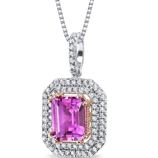 Oravo Sterling Silver 4 1/2ct TGW Created Pink Sapphire Open Halo Pendant