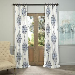Exclusive Fabrics Kerala Blue Printed Cotton Twill Curtain Panel 108-inch in Blue (As Is Item)