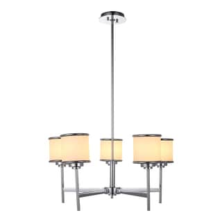 OVE Decors Max i Chrome-finish iron integrated LED Chandelier with Shades
