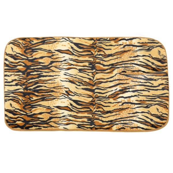 Shop Faux Fur Tiger Print Cushioned Bath Rug (20 X 31.5