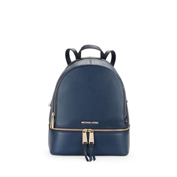 1a76f09286ca Michael Kors Rhea Blue Leather Zip Admiral Small Fashion Backpack