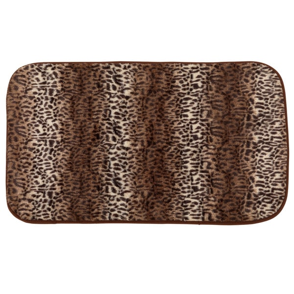 Multicolor Faux-fur Cheetah Print Cushioned Bath Rug (1'8 x 2'7.5)