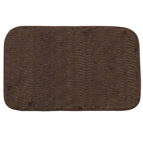 Brown Faux Fur 20-inches x 31.5-inches Cushioned Bath Rug