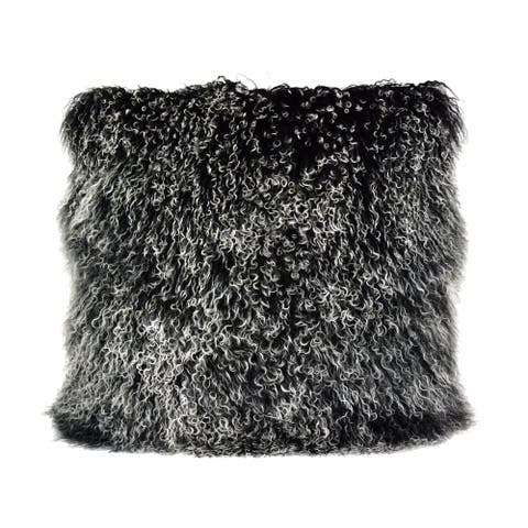 Aurelle Home Lamb Skin Throw Pillow Large Black Snow