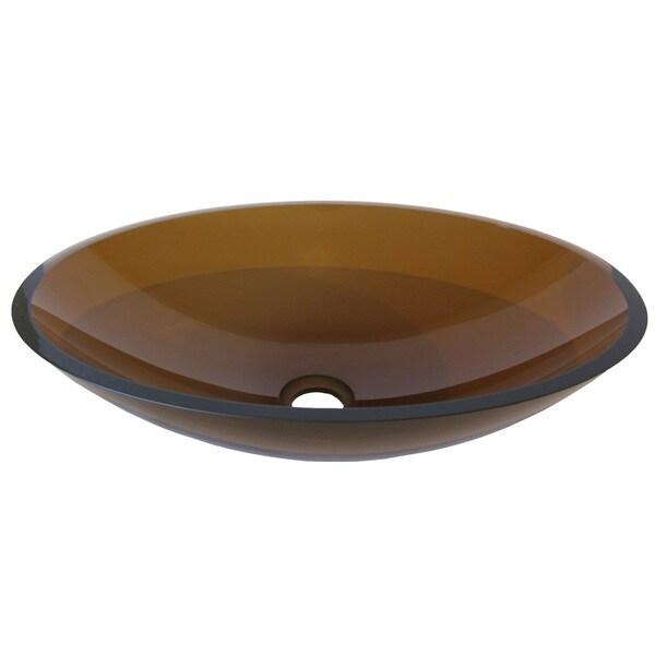 Novatto Ovale Brown Glass Vessel Bathroom Sink