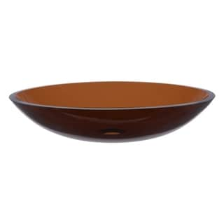 Novatto Ovale Brown Glass Vessel Bathroom Sink