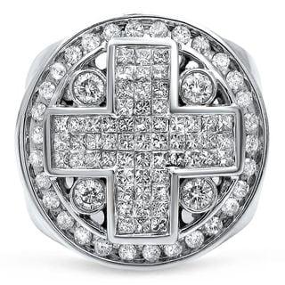 Noori Men's 14k White Gold 3.5-carat Princess Cut Diamond Cross Ring