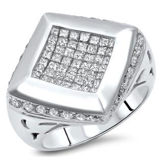Noori Men's 14k White Gold 2 1/3ct Princess-cut Diamond Kite Ring