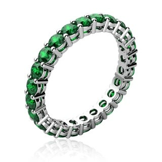 18K White-Goldplated Ring with Genuine Emeralds