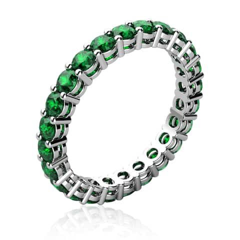 White-Gold Plated Green Colored Quartz Ring