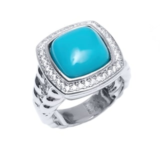 Peermont Jewelry Rhodium Plated Brass Cubic Zirconia and Turquoise Square Ring