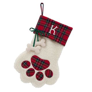 Red Plaid Cuff Paw Dog Bone Personalized Stocking
