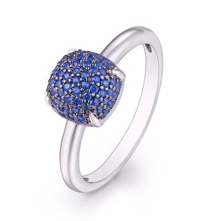 Rhodium Plated and 0.03ct Total Weight Sapphire Square Ring